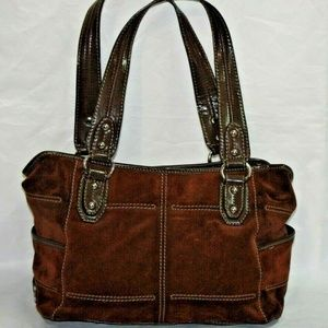 Tignanello Brown Suede Bucket Handbag Purse